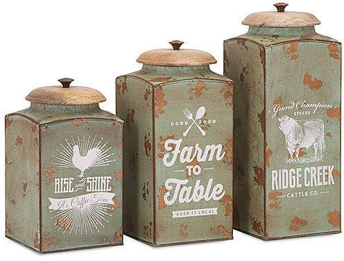 Wow! These would look great in my kitchen! Vintage Farmhouse Lidded
