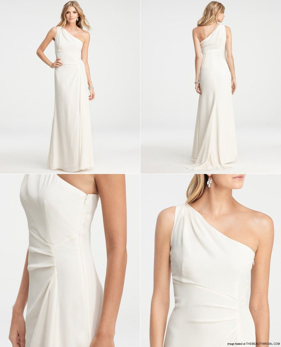 Ann Taylor Silk Crepe One Shoulder Wedding Gown We Love The Graceful Asymmetry Of This Elegant One Shoulder Gown Artf One Shoulder Wedding Gowns Dresses Gowns