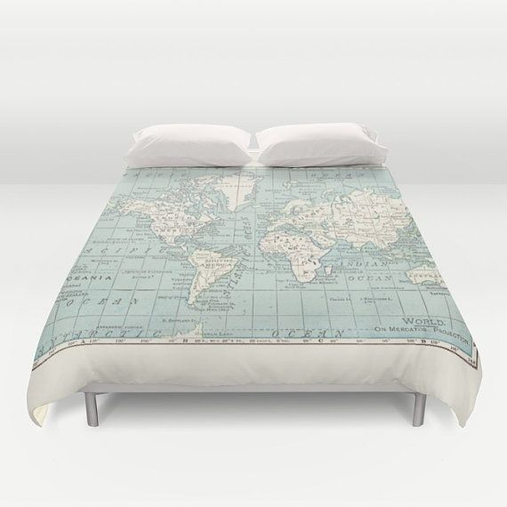 World map duvet cover bed bedroom travel decor cozy soft blue world map duvet cover bed bedroom travel decor cozy by mapology gumiabroncs Image collections