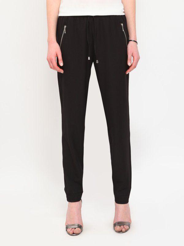 spodnie długie damskie luźne, z kieszeniami czarne - SSP1990 TOP SECRET
