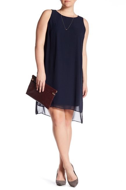 Image of London Times Chiffon Jersey Sleeveless Shift Dress (Plus Size)