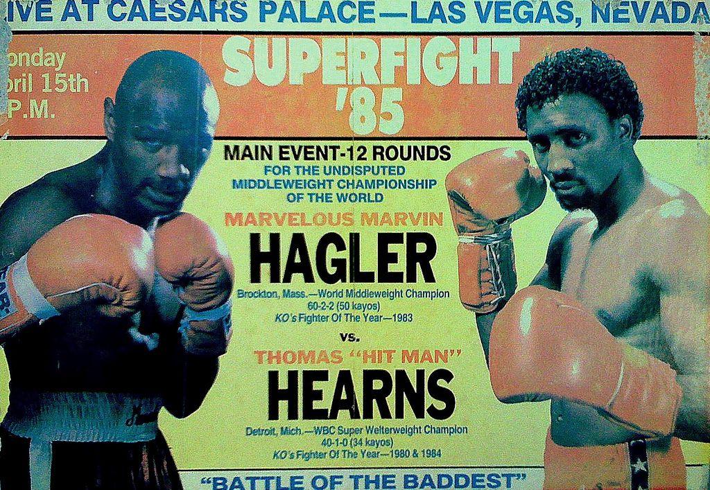 Marvin Hagler Vs Thomas Hearns Poster Marvelous Marvin Hagler Caesars Palace Las Vegas Thomas