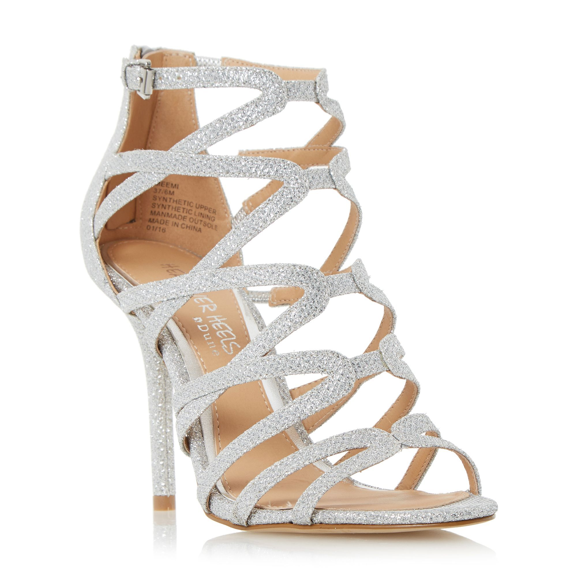 Head Over Heels Memi caged sandals, Silver | Wedding stuff ...