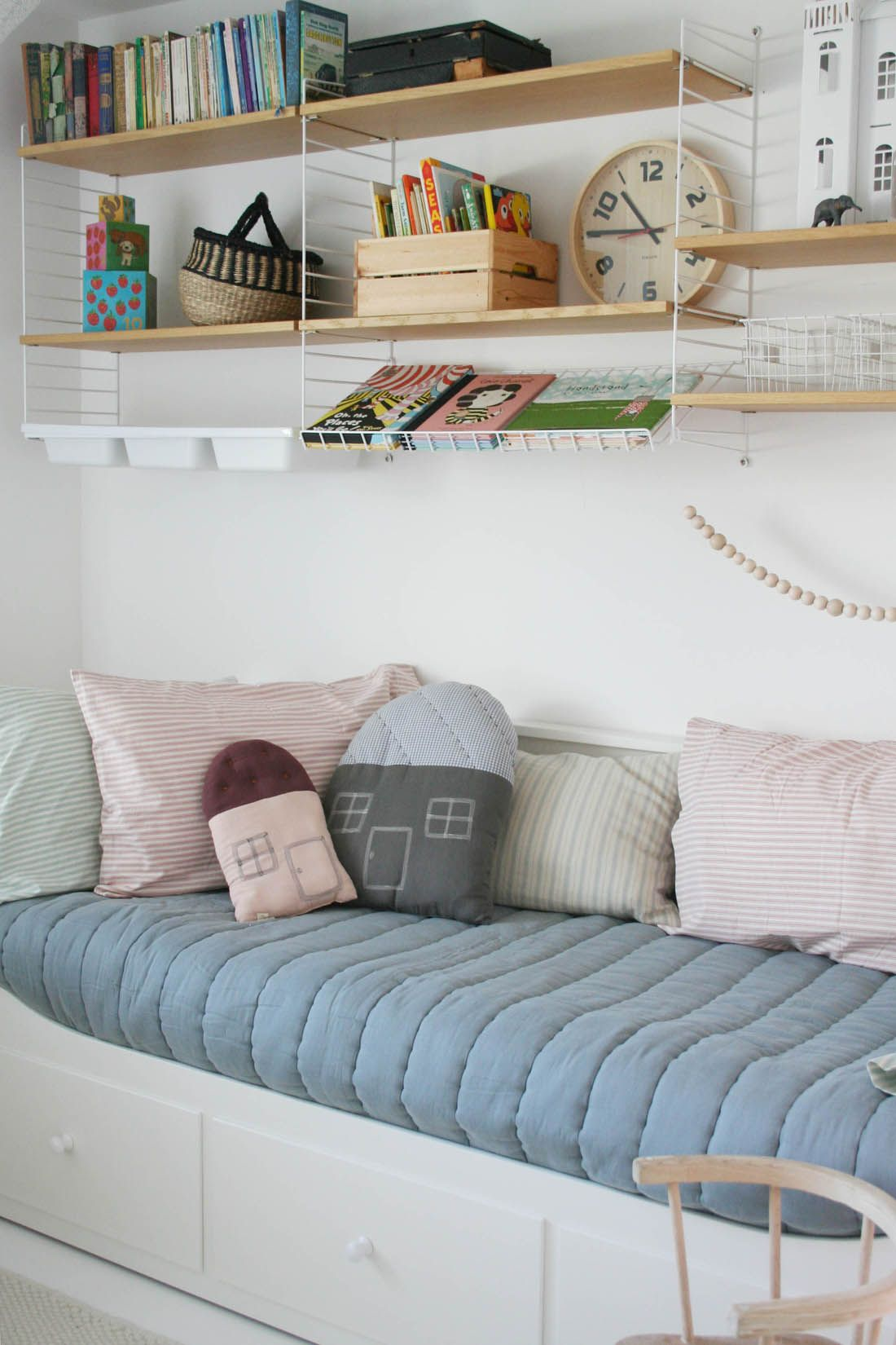 Ikea Shelves Hemnes Daybed In A Boys Bedroom: IKEA Hemnes Day Bed And String Shelving