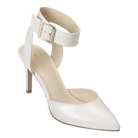"""Pointy toe pump with ankle strap closure.  3 1/4"""" heel."""