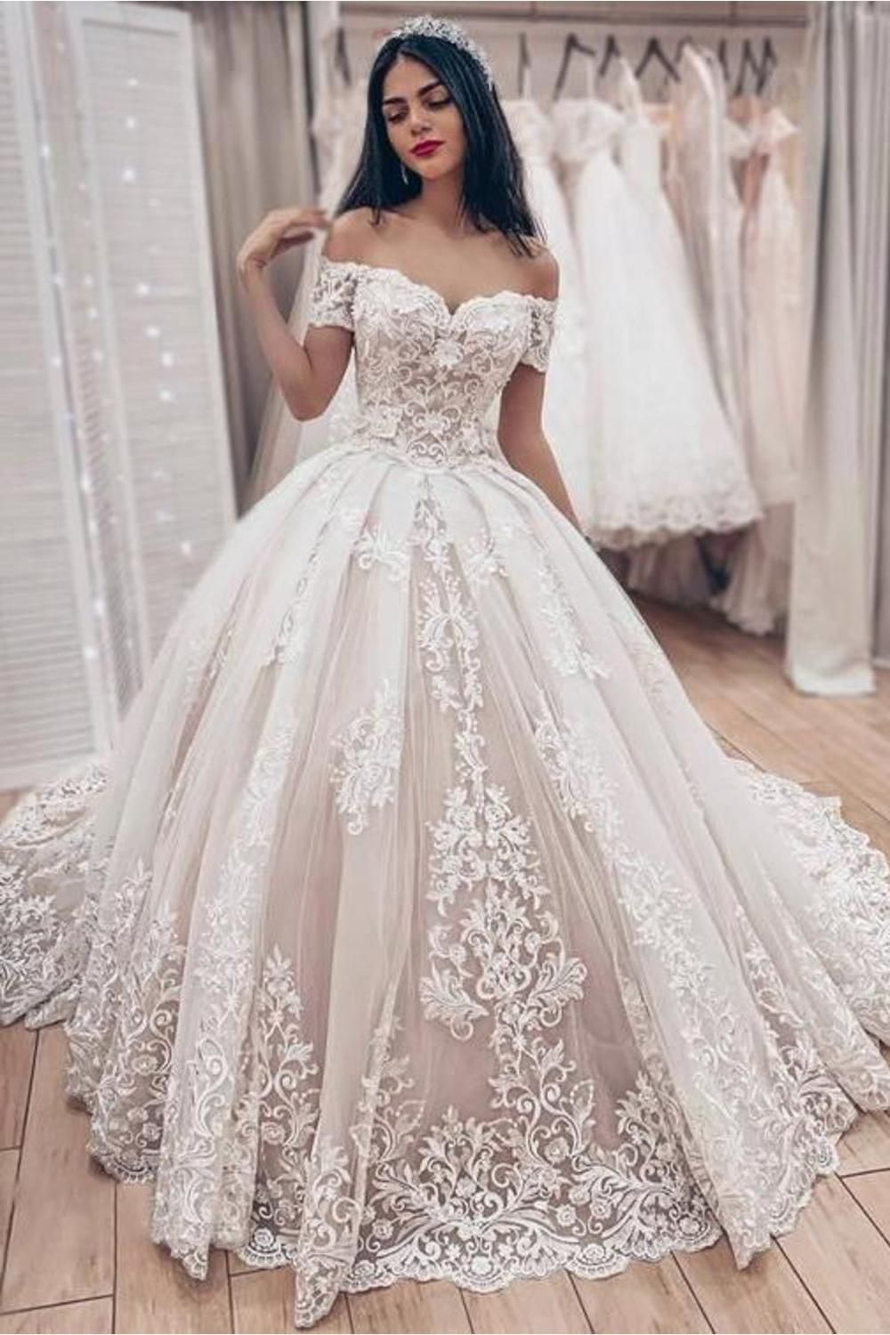 Ball Gown Off The Shoulder Wedding Dress With Lace Appliques, Gorgeous Bridal Dress SAPC62493J #tulleballgown
