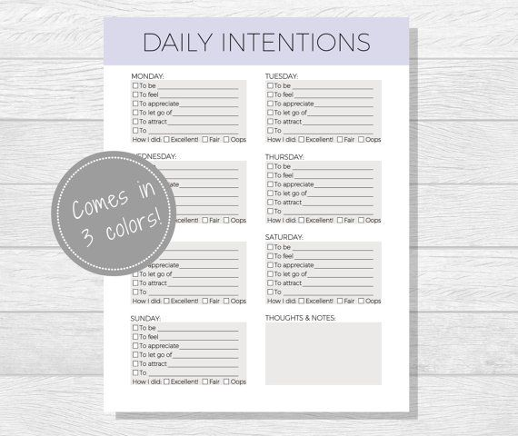 Daily Intentions Printable, Daily Affirmations, Daily Goal Worksheet - personal goal template