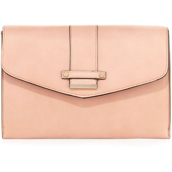 Neiman Marcus Cheyenne Envelope Clutch Bag ($26) ❤ liked on Polyvore featuring bags, handbags, clutches, blush, chain strap purse, zip purse, zipper purse, chain handle handbags and zipper handbag