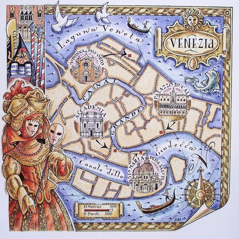 How gorgeous is this A map of Venice by David Hobbs Illustrated