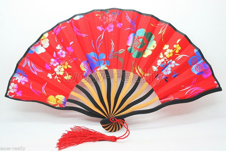 Chinese New Handmade Lady's Folding Hand Red Bamboo Flowers Fan New