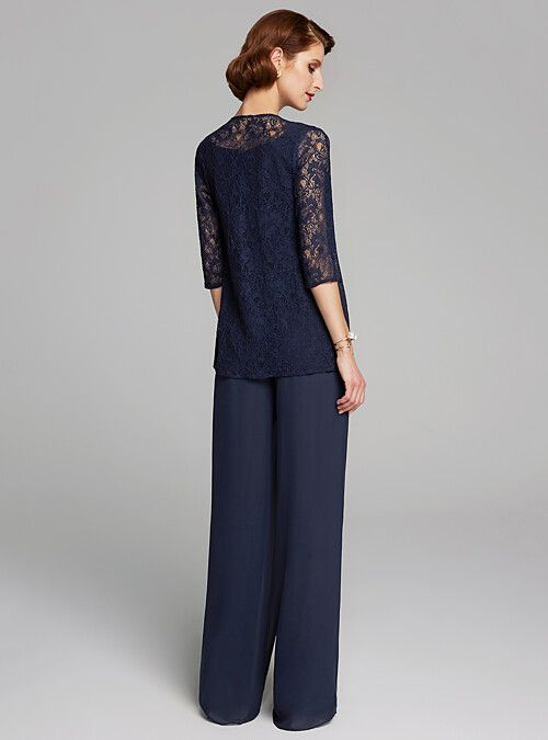 052ccca25fb Two Piece Jewel Neck Floor Length Chiffon   Lace Mother of the Bride Dress  with Lace