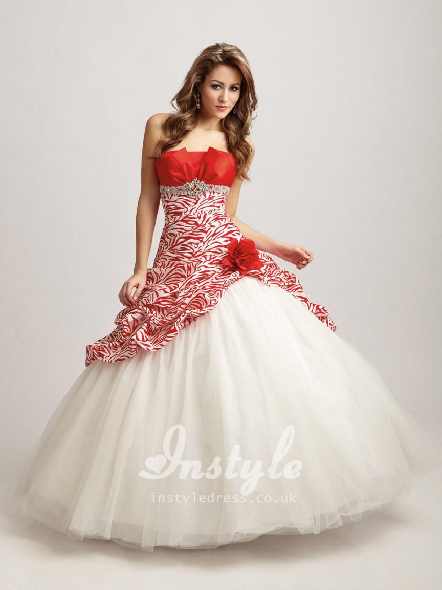 Red/White Zebra Tulle Ball Gown Strapless Flower Quinceanera Dress ...