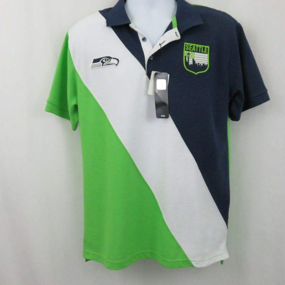4485b50a Seattle Seahawks NFL Mens L Neon Green Navy White Diagonal Stripe Polo Shirt  #NFLTeamApparel #SeattleSeahawks