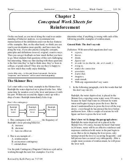 Conceptual Work Sheets For Reinforcement With Images Behavior
