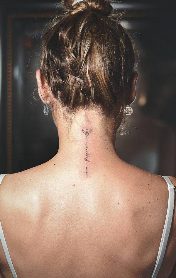 Graceful Thin #lineworktattoo Neck Tattoo #necktattoo #tattoo