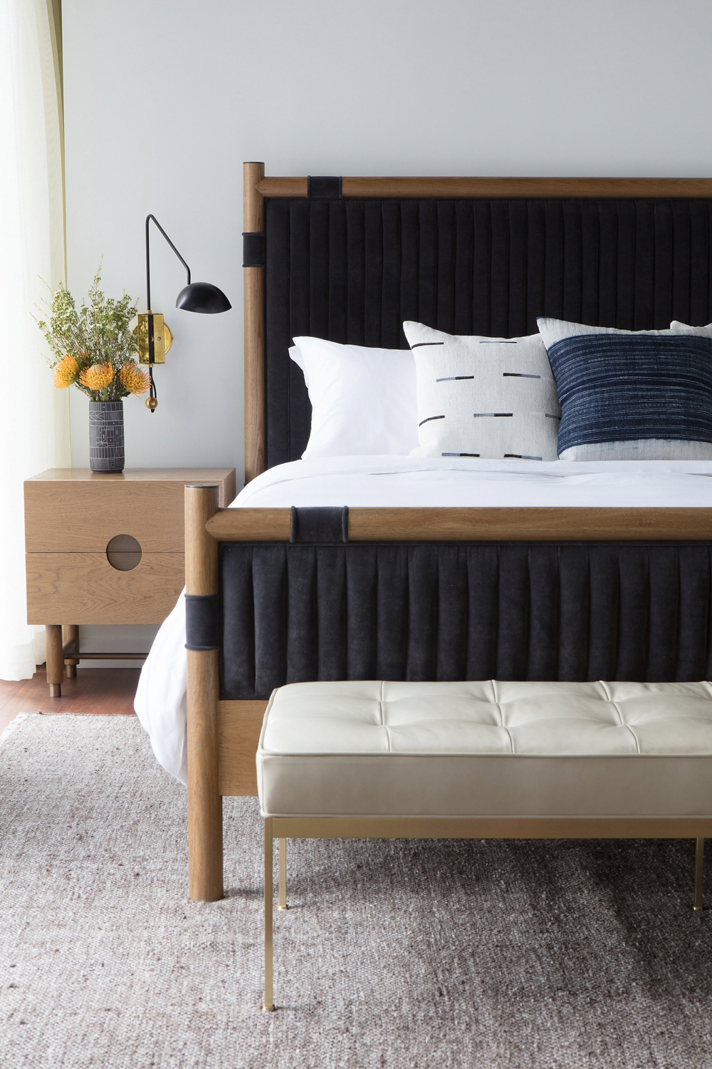 The Chiselhurst Bed Is An Upholstered Bed With A Solid American