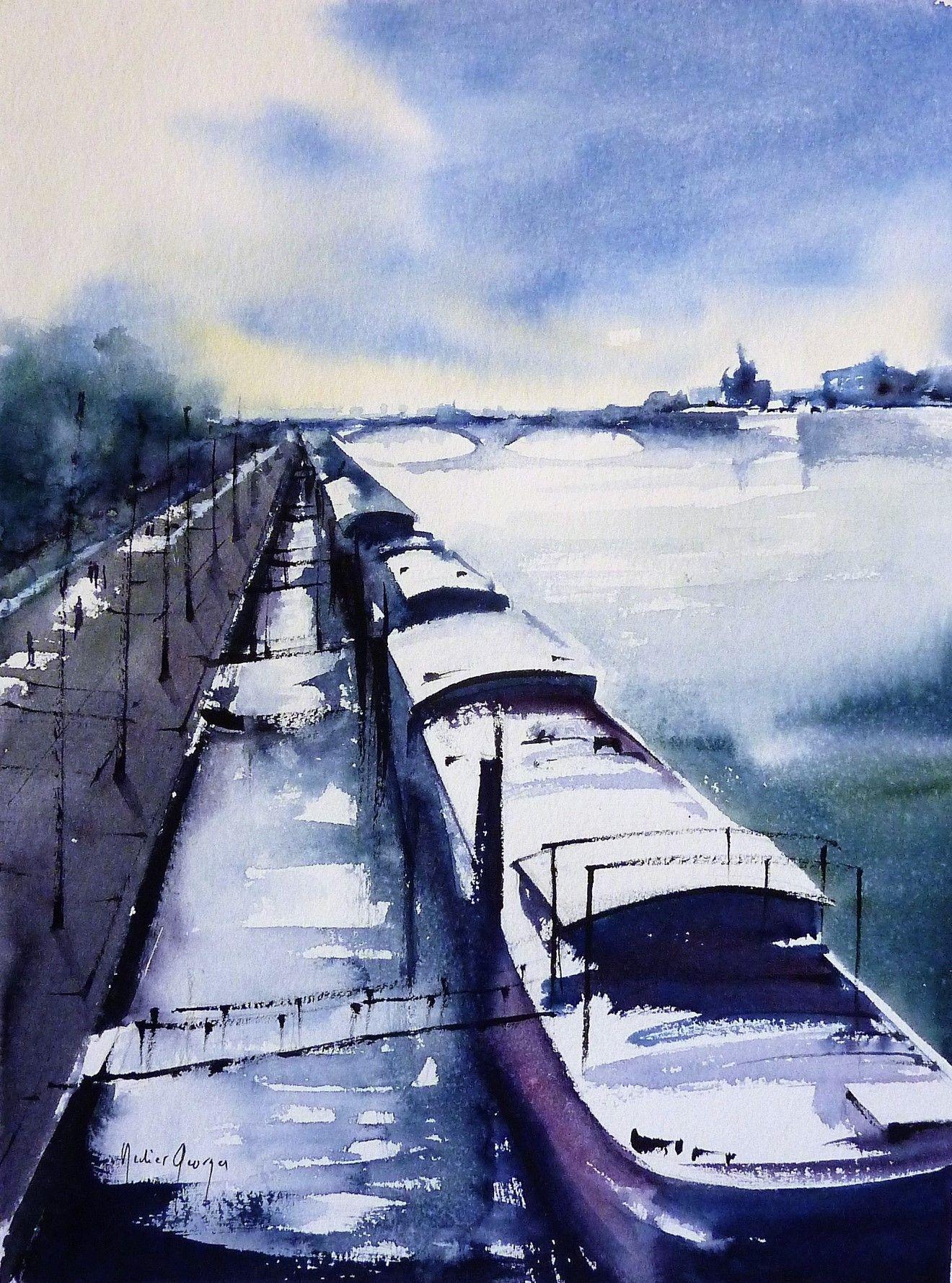 Lyon France Watercolor Aquarelle De Didier Georges Watercolor