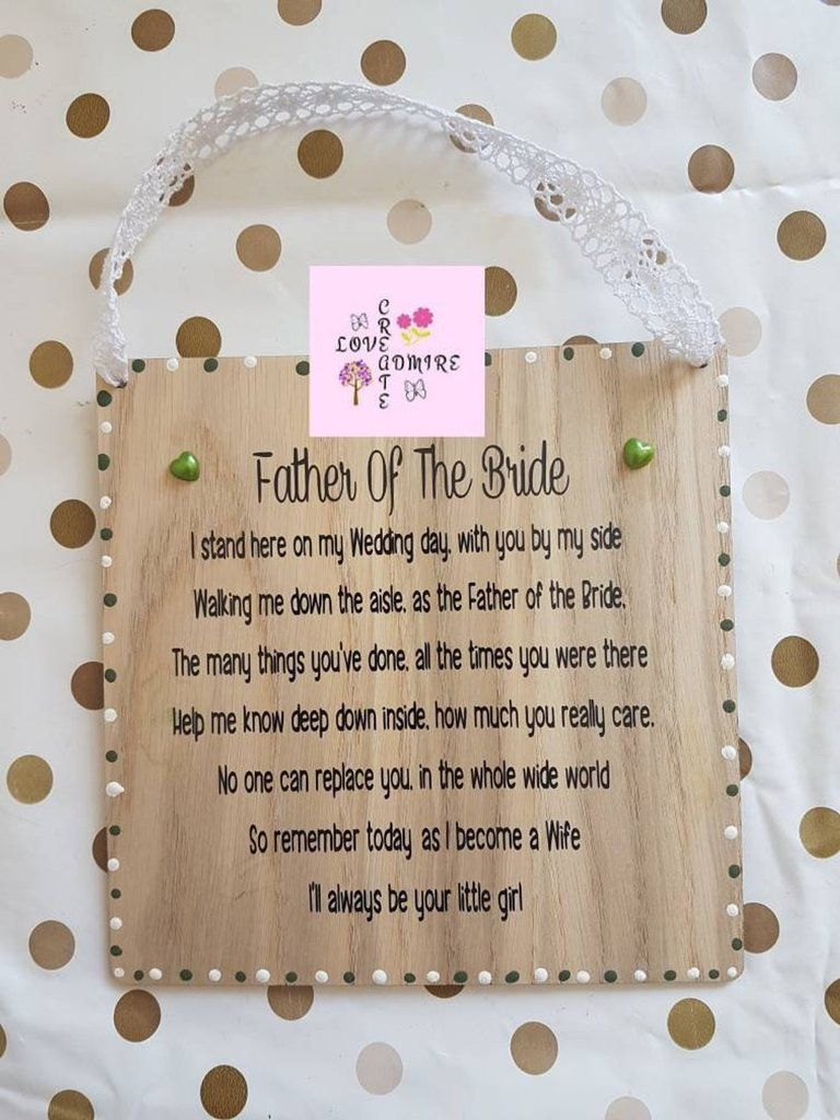 Father Of The Bride Gift Wedding Gift Dad Stepdad Personalised Father Poem Daughter Father Of The Bride Wedding Gift Favors Wedding Favours Thank You