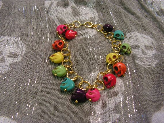 B110 Rainbow Howlite Turquoise Skull Charm Bracelet by HLMullaney, $13.00