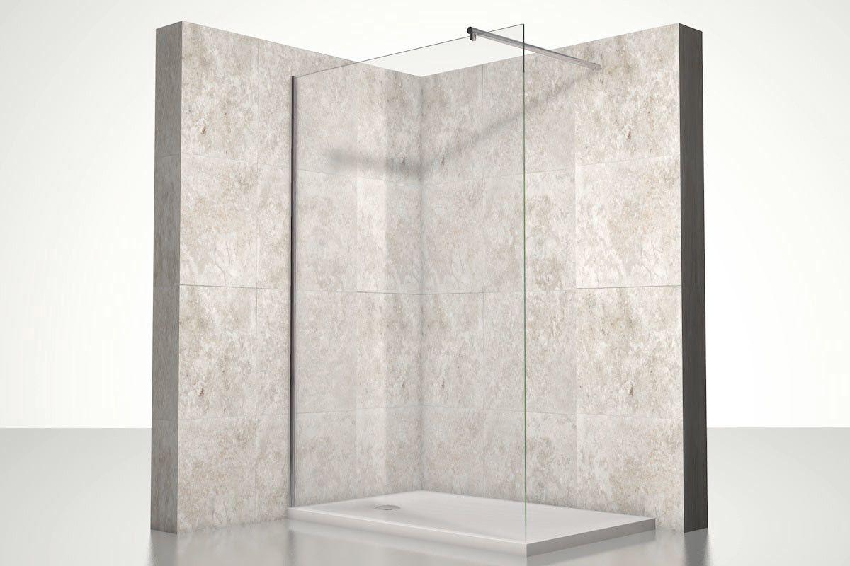Duschtrennwand Leo ESG 10mm Glashöhe 190cm mit Klemmprofil