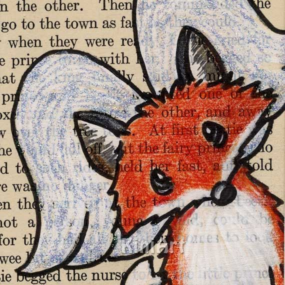 Winged Fox ORIGINAL Art Vintage Altered Book Painting by KiniArt via Etsy.