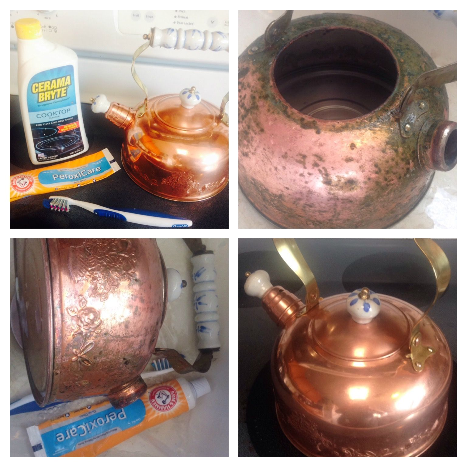Clean Old Copper Tea Pot With Glass Stove Top Cleaner Cerama Byte