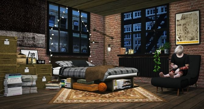 Industrial Rustic Bedroom Update At Mxims Via Sims 4