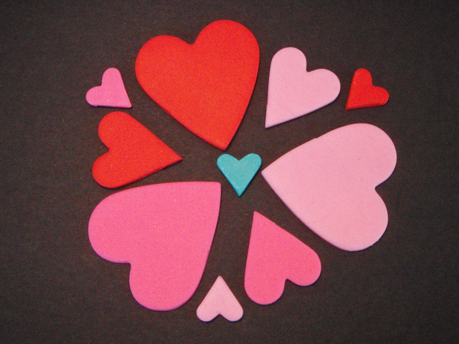 Fondant Heart Decorations for Cupcakes or Cakes