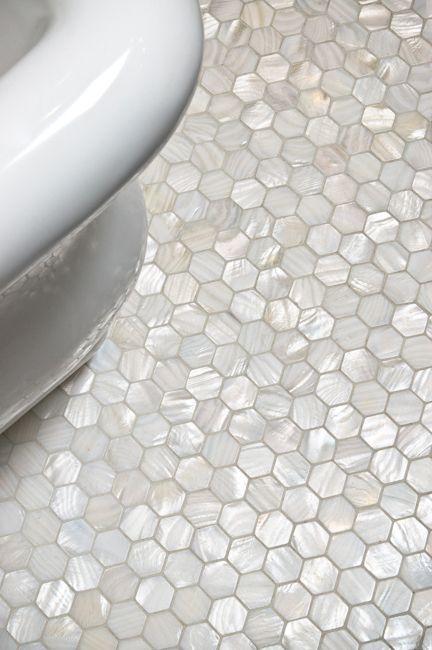 White Hexagon Pearl Shell Tile Hexagons Bathroom floor tiles