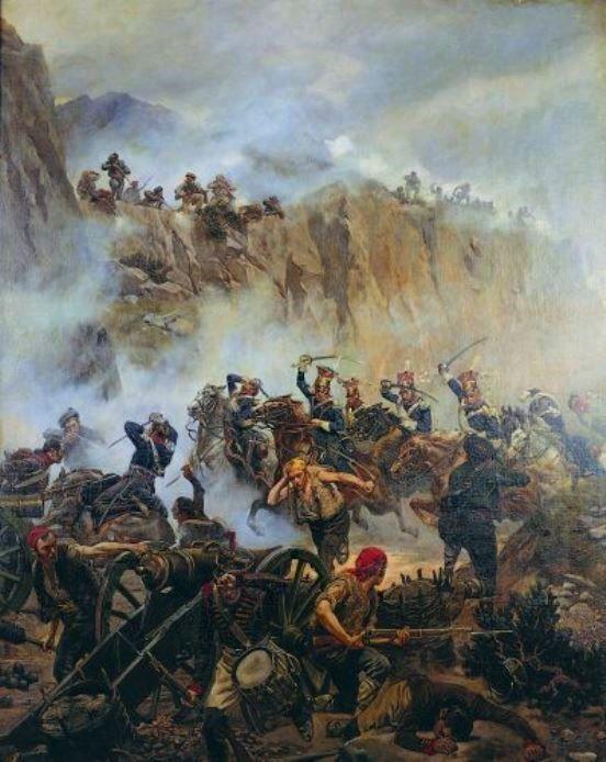 The Polish Lancers successful charge at Somosierra, Peninsular War.