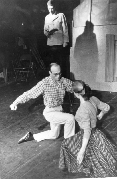 """The poet Weldon Kees reading Reed's """"Unarmed Combat,"""" at the Poets' Follies, San Francisco, 1955."""