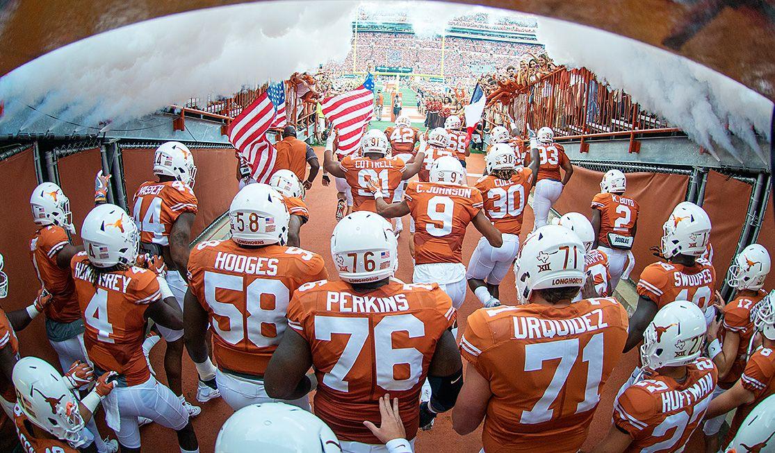 Texas Football Enters The Field Through The Tunnel Texas