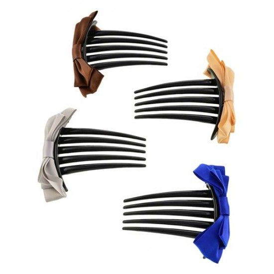 Aaishwarya Multicolor Bow knot Hair Comb Clip Combo (Set Of 4) #hairaccessories #combclips #setofcombclips