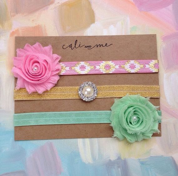 Gold Mint and Pink Headband Set. Baby by CaliandMeBoutique on Etsy