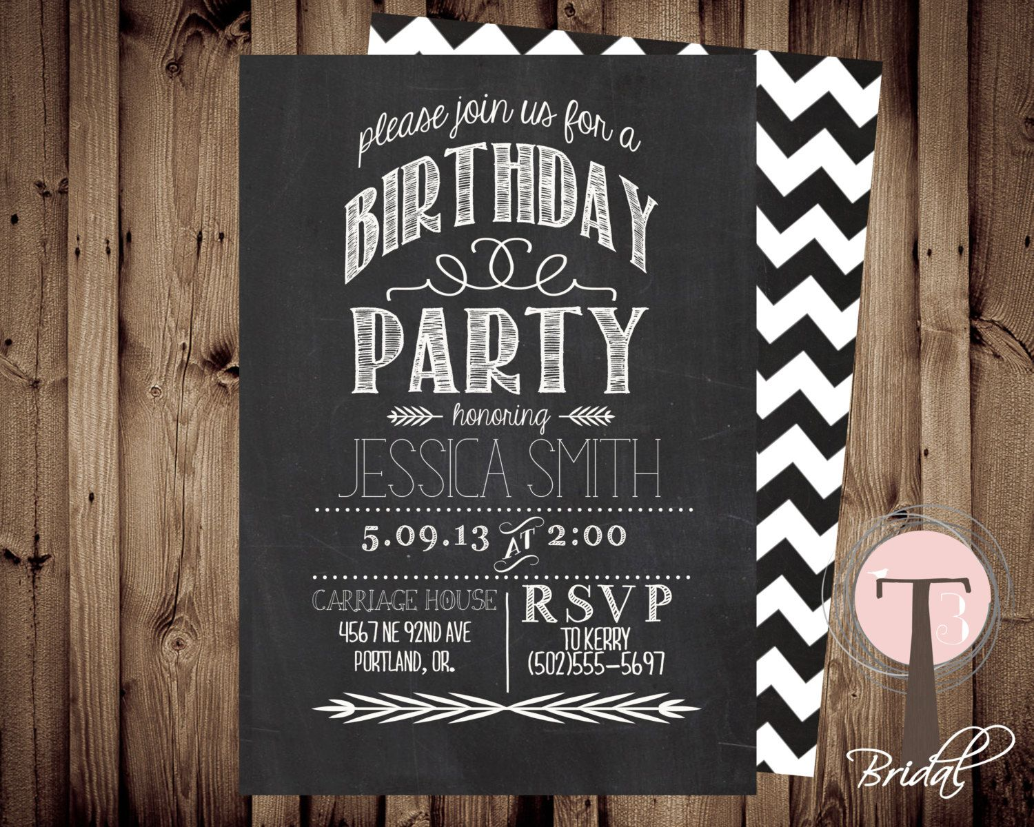 Chalkboard birthday invitation, birthday invitation, elegant, adult ...