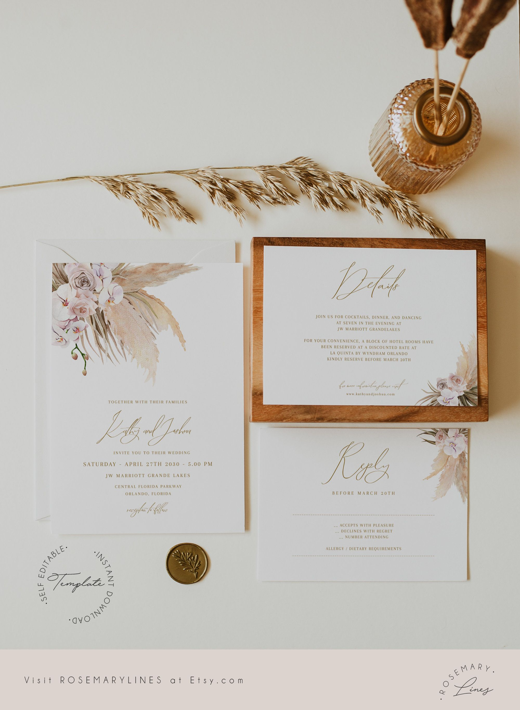 Pampas Grass Wedding Invitation Template Boho Wedding Invite Etsy Wedding Invitations Boho Desert Wedding Invitation Creative Wedding Invitations