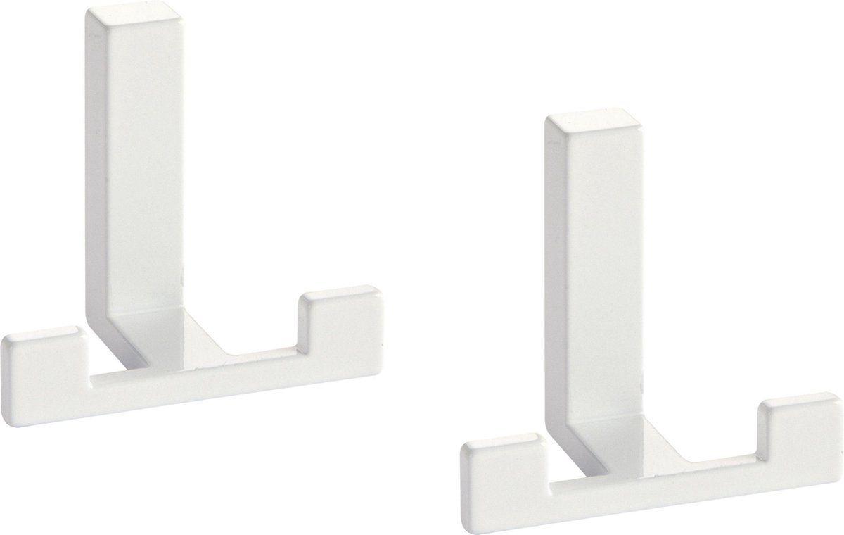 2x Luxe Kapstokhaken Jashaken Modern Wit Met Dubbele Haak Hoogwaardig Metaal 4 X Metaal Modern Luxe