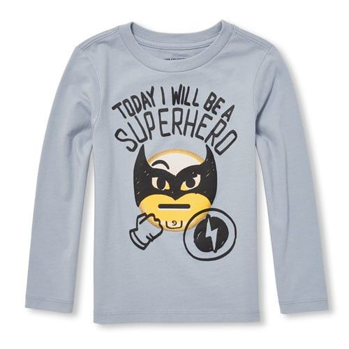 8cce52e33cb Baby And Toddler Boys Long Sleeve 'I Will Be A Superhero' Emoji ...