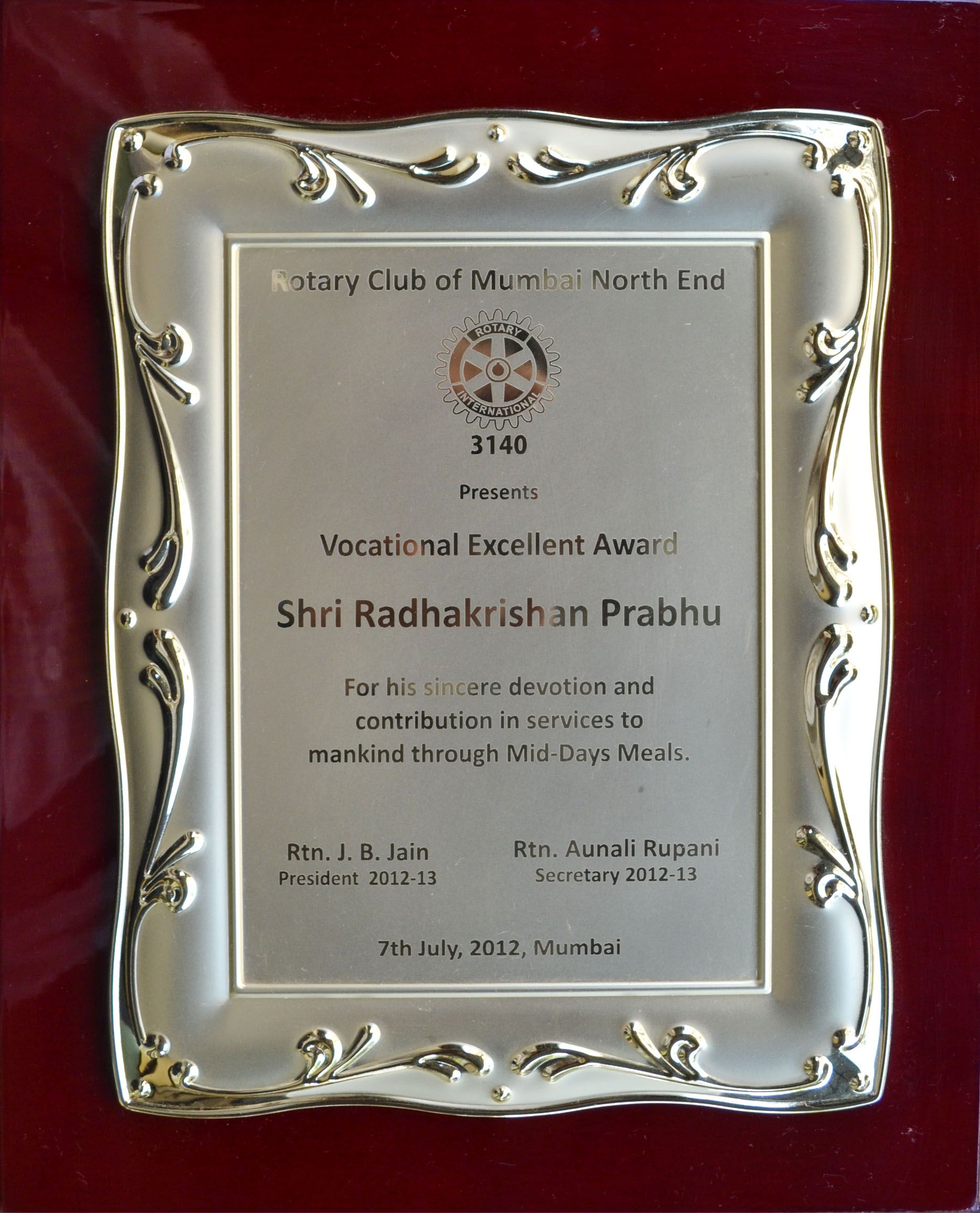 Rotary Club Presents Vocational Excellence Award To Dr Radha Krishna Das For His Services To Society Through Midday Rotary Club Excellence Award Appreciation Rotary certificate of appreciation template