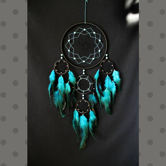 Dream Catcher Wall Hanging Black Turquoise Color Large