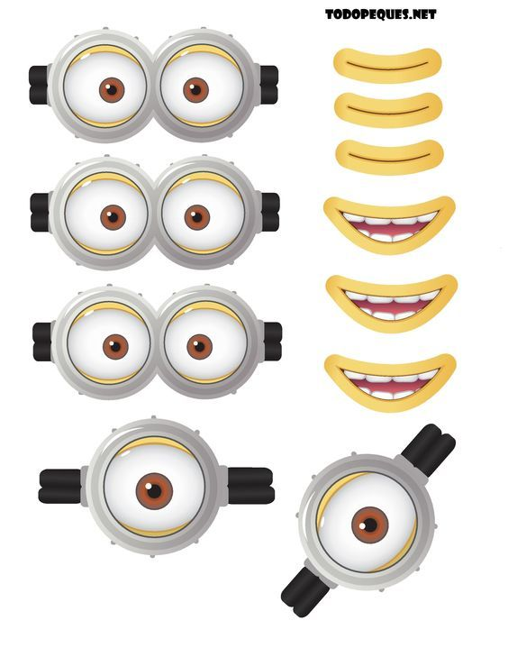 graphic relating to Minion Goggles Printable known as Moldes de ojos y bocas de Minions para imprimir gratis
