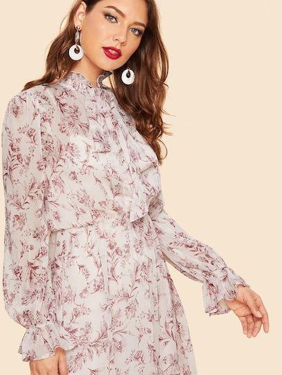 Robe avec imprimé et nœud   SHEIN   Mode, Wunschliste