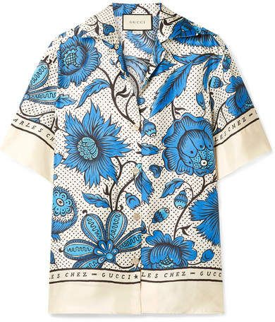 409da93b4da0d Gucci - Floral-print Silk-twill Shirt - Blue in 2019