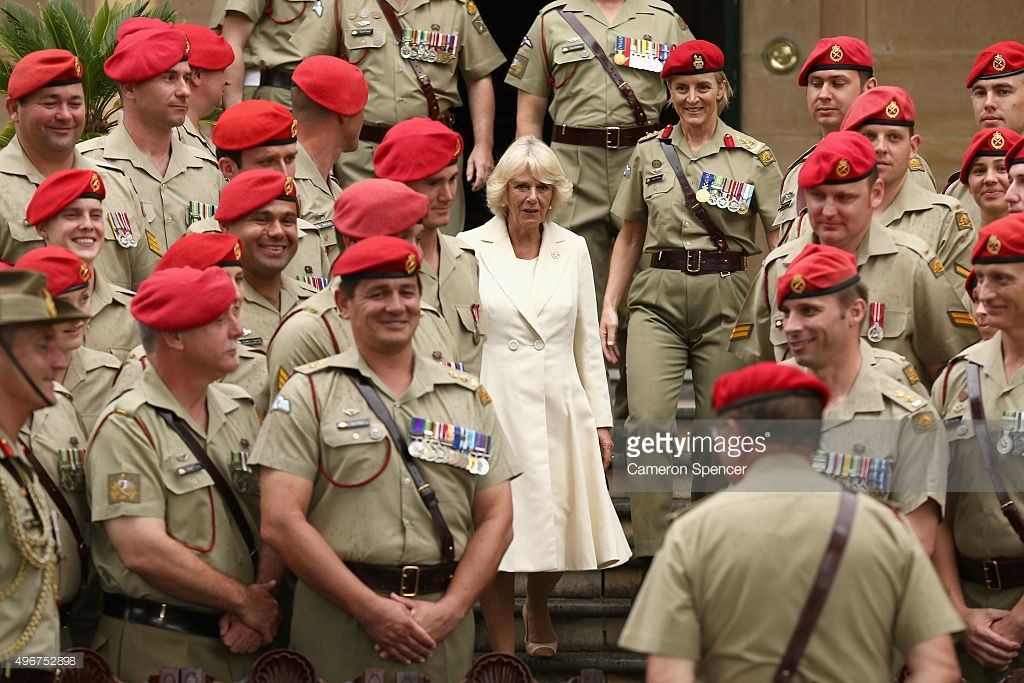 Camilla, Duchess of Cornwall, appointed as the Colonel-In-Chief of the Royal Australian Corps of the Military Police walks with Brigadier Cheryl Pearce to pose with members of the Royal Australian Corps of the Military Police at the Victoria Barracks on November 12, 2015 in Sydney, Australia. The Royal couple are on a 12-day tour visiting seven regions in New Zealand and three states and one territory in Australia.