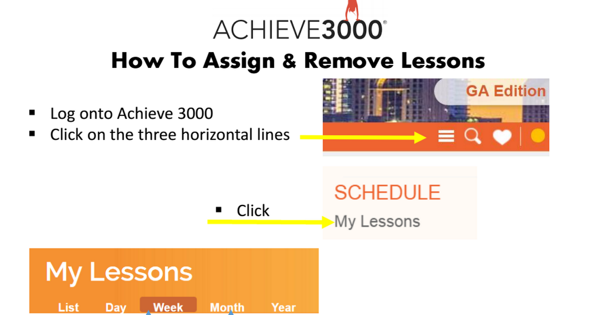 How To Assign Remove Lessons In Achieve3000 Tip Sheet Achieve
