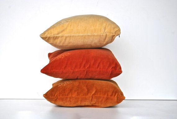 Velvet Vintage Pillow Trio by charliesnest on Etsy, $48.00