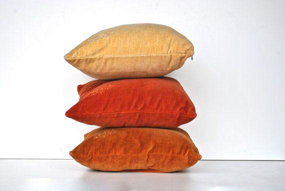 Velvet Vintage Pillow Trio by charliesnest on Etsy, $48.00