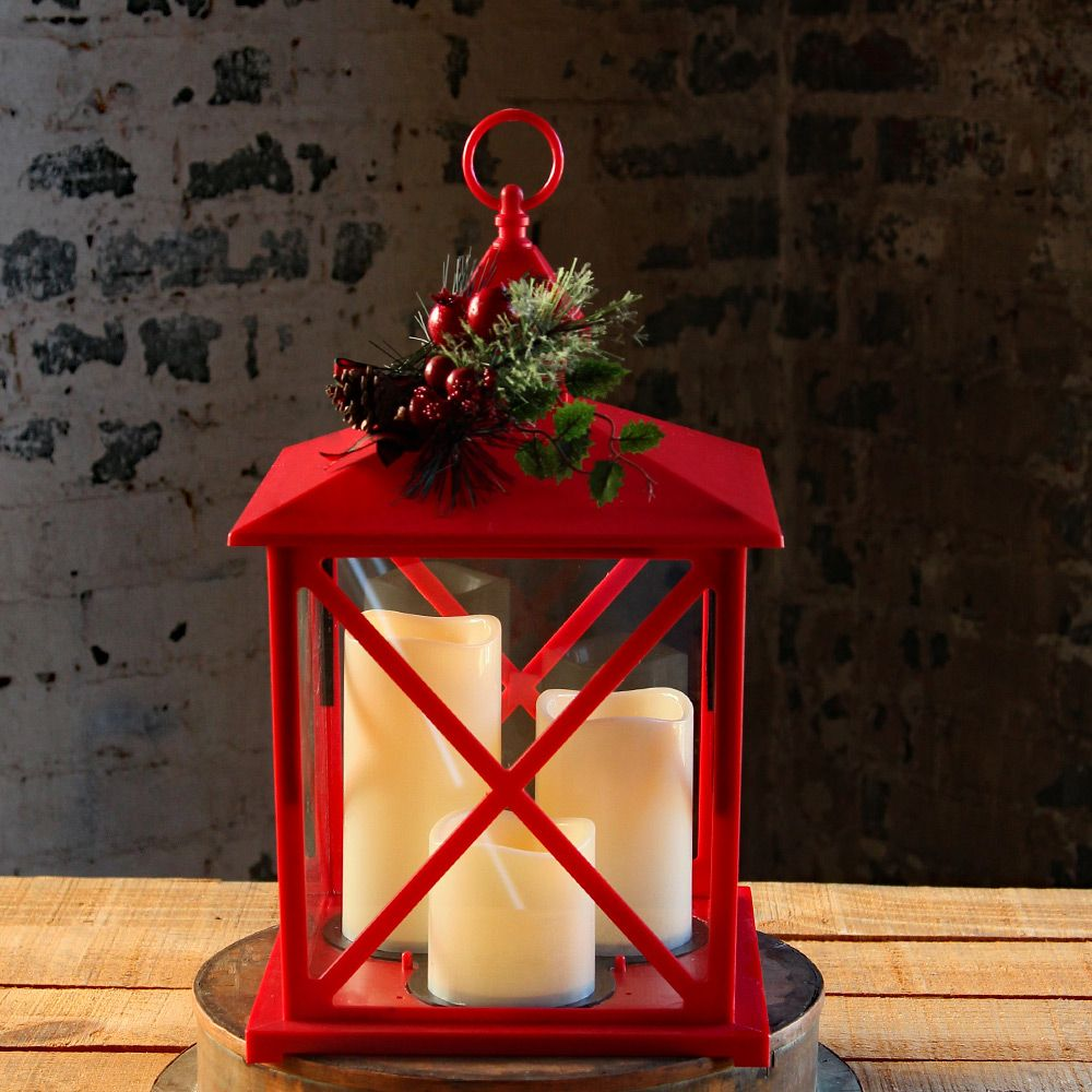 Check Out The Deal On Red Holiday Flameless 3 Candle Lantern With Pine Cone And Berry Decor 15 Inch Timer At Battery Candle Lanterns Candles Holiday Lanterns