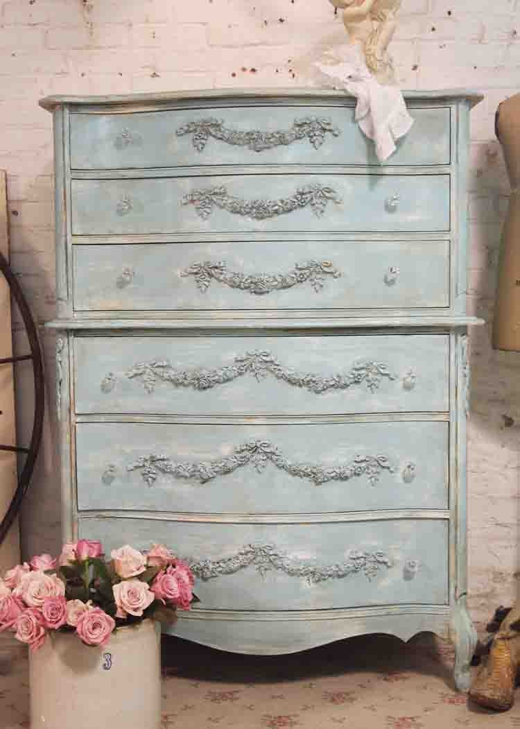 The Painted Cottage, which sells Vintage Painted Furniture online.  Painted dresser.