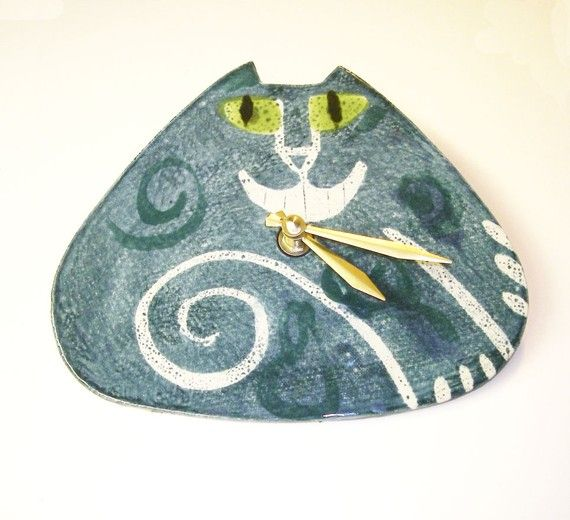 Cheshire Cat pottery clock handmade to order choose by firecat, $48.00